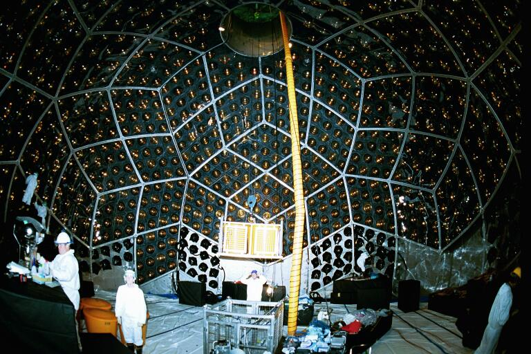 Inside the detector during PMT installation